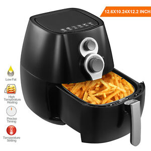 1350w Electric No Oil Air Fryer Timer Temperature Control W 6 Cooking Presets