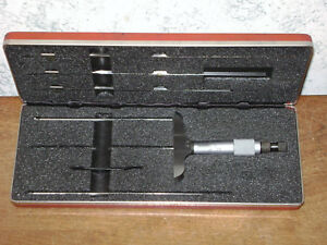 Starrett 0 6 Inch Blade Depth Micrometer Set No 449 Made In Usa
