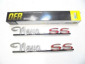 1963 1964 Chevrolet Chevy Nova Ss Quarter Panel Emblems Pair New