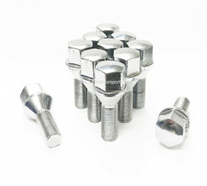 20 Acorn 12x1 25 Chrome Cone Seat Stock Wheel Lug Bolts 19mm Hex 28mm Shank Jeep