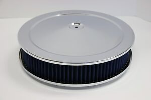 14 X 3 Round Chrome Blue Washable Air Cleaner Drop Base Ford Chevy Sbc 350 454
