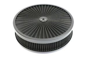 14 X 3 Round Black High Flow Thru Washable Air Cleaner Drop Base Lid Sbc 350