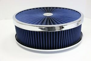 14 X 4 Chrome Round Blue High Flow Thru Washable Air Cleaner Flat Base Sbc 350