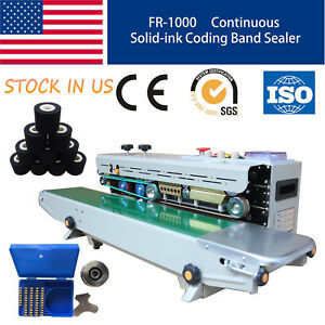 Soild Ink Continuous Bandcoding Printing Sealer Plastic Bag Sealing Machine