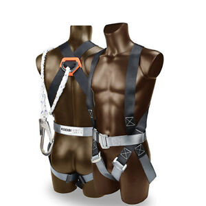 Safety Fall Protection Kit Full Body Harness W Shock absorbing Safey Lanyard