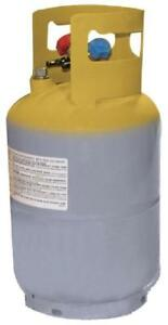 New Mastercool 62010 Gray Yellow Refrigerant Recovery Tank 30 Lb Capacity