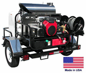 Pressure Washer Hot Water Trailer Mount 200 Gal 5 Gpm 3000 Psi 115v A
