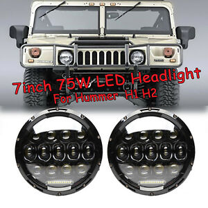 75w 7 Led Projector Lens Drl Lamps Headlight Black For Hummer Am General H1 H2
