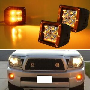 3 Inch Cubic 20w Cree Amber Led Pod Lights For Truck Jeep Off Road Atv 4wd 4x4