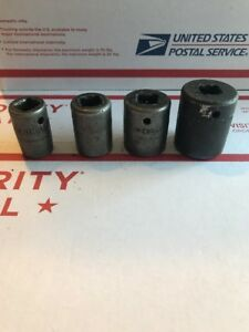 Snap On Tools Impact Socket Set Lot Of 4 Im 320 260 220 180 6 Point 1 2 Drive