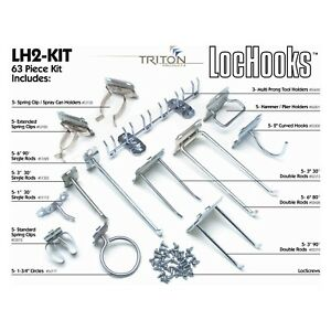 Locking Style Silver Lock Hook Kit 63pc For Wall Mount Pegboard Locking System