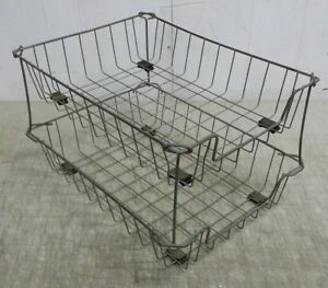Vintage Industrial In out Box 2 tier Wire Desk Tray Metal Baskets 10x14x8