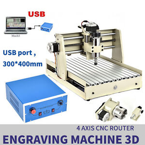 4 Axis 3040 Usb Cnc Router Engraver Engraving Cutter T screw Desktop Cutting Usa