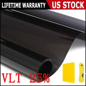 Black 25 Car Auto Window Tint Film Roll House Glass Cover Tinting 50cmx3m Us