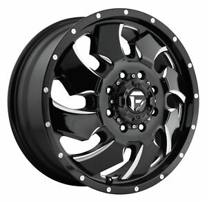 1 New 20x8 25 105 Fuel D574 Cleaver Dually Front Black Milled 8x210 Wheel Rim