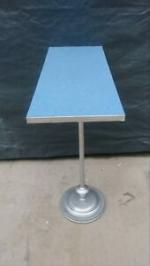Vtg 1950s Tall Atomic Retro Blue Formica Chrome Plant Stand Table Stand
