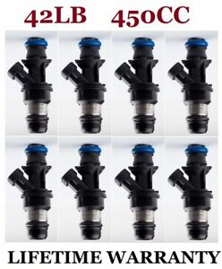 Oem 8 New 42lb 450cc Delphi Fuel Injectors For Gm Marine 8 1l 25317628 17113739