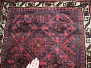Vintage Baluch Balouch Tribal Prayer Rug W Natural Dyes 32 X 53 Euc Oriental