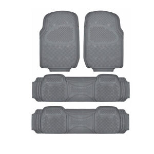Motor Trend 3 Row Rubber Car Floor Mats For Suv Fits Chevrolet Tahoe Gray