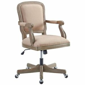 Linon Maybell Wood Upholstered Office Chair In Natural Brown