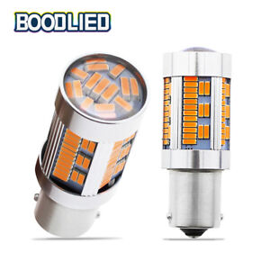 2x Amber Yellow 1156 Ba15s P21w 105 Smd 4014 Led Indicator Bulbs Light Canbus