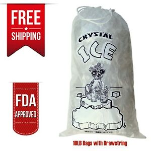10 Lb Clear Ice Bag Bags W drawstring 5 10 20 25 40 50 100 200 300 400 Crystal