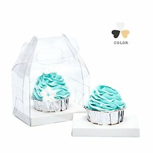 Yotruth Clear Single Cupcake Boxes With Handle And White Insert 20 Pack For S