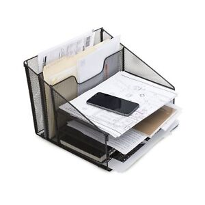 Desktop File Letter Organizer By Lti Metal Paper Sorter Tray For Notes Pa