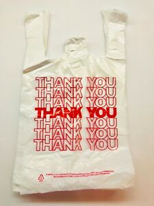 Thank You T shirt Bags White Plastic Shopping Bags Medium