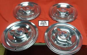 1953 1954 1955 Corvette Restored Hub Caps With Flippers Set Of 4