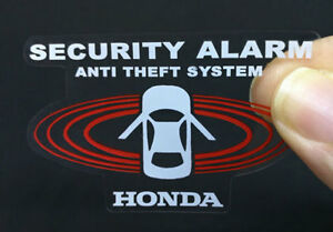 2 Car Alarm Decals For Honda Inside Outside Glass Security System Stickers