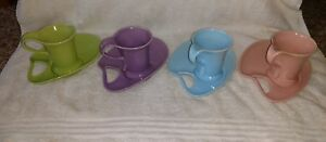 Vintage Lot Of 4 Pastel Tea Cups And Saucers Green Purple Blue And Pink Euc