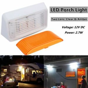 24 Led Exterior Porch Light Rectangle Clear Amber Len Camper Rv Trailer 12v