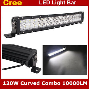 Curved Cree 22inch 120w Led Light Bar Flood Spot Combo Beam Truck Offroad Ford
