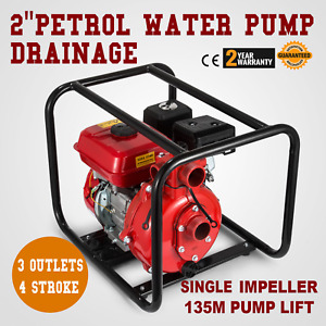 2 Petrol High Pressure Water Transfer Pump Head Lift Alloy Hose Electric Start