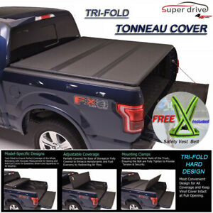 Fits 2015 2018 Ford F150 Lock Hard Solid Tri Fold Tonneau Cover 8ft 96 Bed