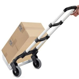 Foldable Heavy Duty Hand Truck Push Cart Trolley Dolly 2 Wheels Warehouse Garage