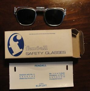 Vintage Blue Lens Fendall 870 Welding Cutting Torch Clip On Hat Glasses 6 Blue
