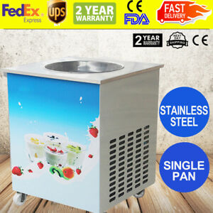 Steel Round Pan Fried Ice Cream Roll Machine Fried Milk Yogurt Machine Us Sale