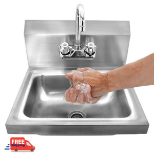 Stainless Steel Hot Cold Hand Wash Sink Wall Mount Commercial Kitchen Heavy Duty
