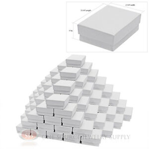 100 White Swirl Cardboard Cotton Filled Gift Boxes 3 1 4 X 2 1 4 X 1 Box