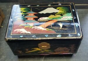 Antique Black Japanese Wooden Jewelry Box Shell Specs Inlay Mirror Music Lined