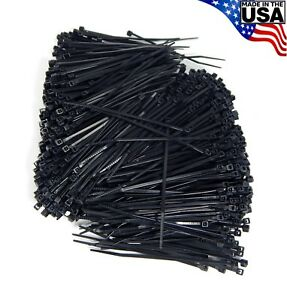 Zip Cable Ties 4 18lbs 1000pc Uv Black Made In Usa Nylon Wire Tie Wraps