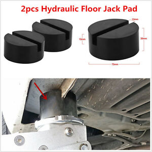 2 Slotted Rail Floor Jack Disk Rubber Pad Adapter For Pinch Weld Side Jackpad