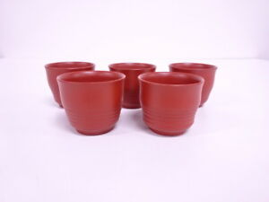 3677274 Japanese Tea Ceremony Tokoname Ware Red Cray Tea Cup Set Of 5 Artis
