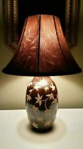 Original Arts And Crafts Style Earthenware Brown Overlay Tan Table Lamp Shade