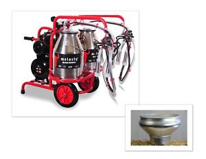 Melasty Double Cow Portable Electric Milking Machine Twin Bucket With Strainer