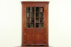 Cherry Antique 1840 Corner Cupboard Or Cabinet Wavy Glass Panes Ohio 29101
