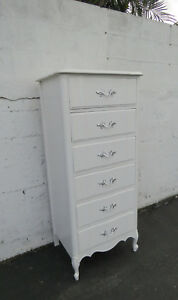 French Tall White Painted Lingerie Chest By Dixie 8810