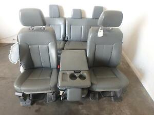 11 16 Ford F250 F350 Front Rear Seat Console Grey Vinyl Manual Oem Work Truck